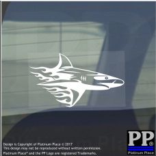 Shark Flame-Vinyl Sticker-Car Window Graphic Decal Sign Animal,Swim,Fish,Reef